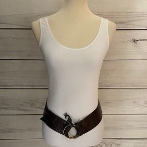 The Limited Wide Brown Leather Belt - New